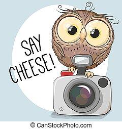 hibou, appareil photo