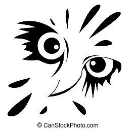 hibou, blanc, dessin, fond