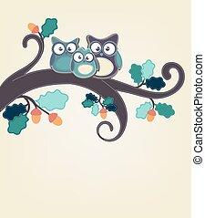 hibou, branche arbre, famille, séance