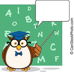 hibou, bulle discours, prof