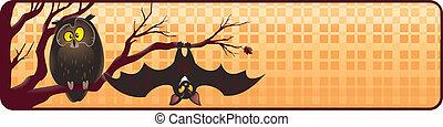 hibou, chauve-souris, halloween, bannière