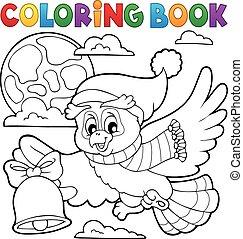 hibou, coloration, 1, thème, livre, noël