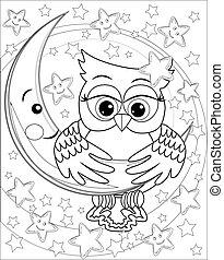 hibou, coloration, contour, plus vieux, lune, stars., livre, adulte, children., dessin, page