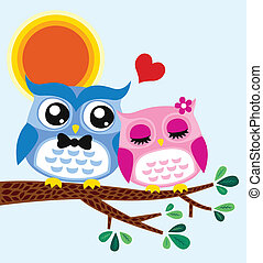 hibou, conception, carte, valentin