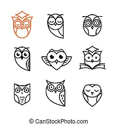 hibou, contour, collection, icônes