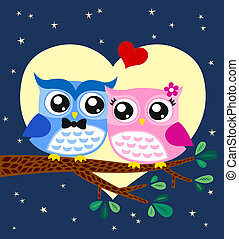 hibou,  couple,  Illustration