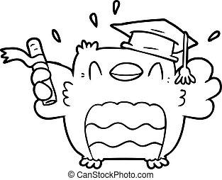 hibou, dessin animé, diplômé
