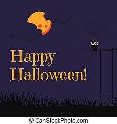 hibou, dessin animé, style, arbre, carte, branche, beau, nuages, entiers, balançoire, grass., noir, séance, lune, heureux, mignon, halloween