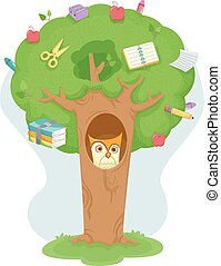 hibou, education, arbre
