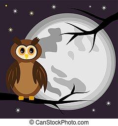 hibou, entiers, moon., arbre, contre, branche, nuit