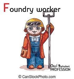 hibou, f, alphabet, professions, watercolor., -, fonderie, vecteur, lettre, ouvrier