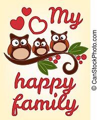hibou, famille, séance, sur, a, branche arbre
