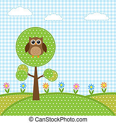 hibou, fleurs, arbre
