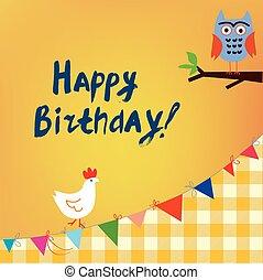 hibou, gosses, anniversaire, poulet, carte, heureux