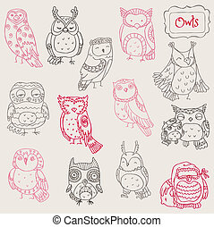 hibou, griffonnage, -, collection, main, vecteur, divers, dessiné