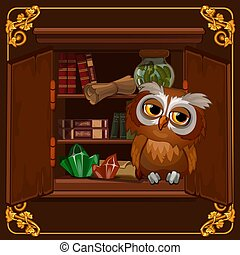 hibou, gros plan, sage, illustration., séance, affiche, image, bibliothèque, vecteur, étagère, vieux, books., dessin animé