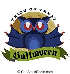 hibou, halloween, bas, pendre, logo, rigolote, concept., isolé, branche, fête, plat, affiche, horreur, white., dessin animé, spiderweb., magie, illustration., night-bird, arbre, vecteur, dessus