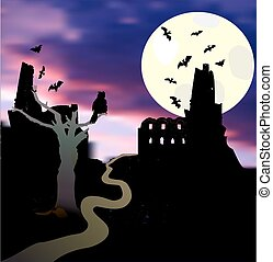 hibou, halloween, clair lune, arbre, coucher soleil, chauves-souris, paysage, château