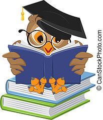 hibou, lecture, sage, livre