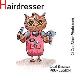 hibou, lettre, coiffeur, alphabet, professions, watercolor...