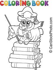 hibou, livre coloration, thème, 2, prof