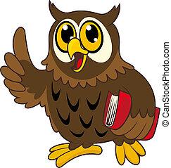 hibou, livre, dessin animé, oiseau