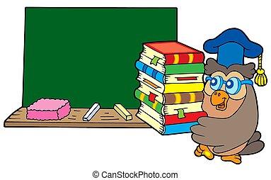 hibou, livres, prof, tableau noir