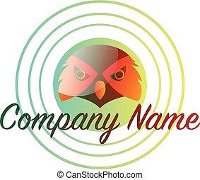 hibou, logo, texte, intérieur, vecteur, conception, fond, vide, orange, vert, cercle, blanc