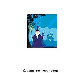 hibou, magicien, dessin animé