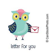 hibou, mignon, locution, message, you., rigolote, style, puéril, isolé, arrière-plan., forêt, tenue, courrier, oiseau blanc, plat, coloré, illustration, t-shirt, lettre, print., enveloppe, vecteur, habillement, ou