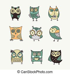 hibou, mignon, main, aquarelle, vecteur, illustrations, dessiné
