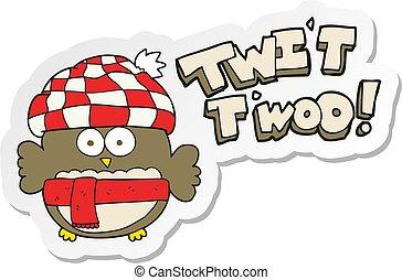 hibou, mignon, twit, autocollant, chant, dessin animé, twoo