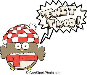 hibou, mignon, twit, bulle, parole, chant, dessin animé, twoo
