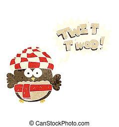 hibou, mignon, twit, bulle, parole, retro, chant, dessin animé, twoo