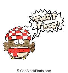 hibou, mignon, twit, bulle, parole, textured, chant, dessin animé, twoo