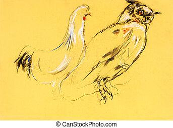 hibou, peinture, coq
