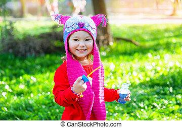 hibou, peu, parc, en-tête, portrait, girl, heureux
