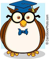 hibou, sage, prof, lunettes