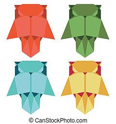 hibou, style, origami