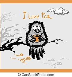 hibou, tasse, thé, illustration, vecteur, automne