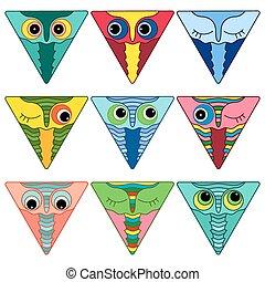 hibou, triangle, formes, neuf, amuser, faces
