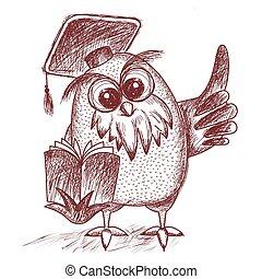 hibou, vecteur, casquette, pointage, diplômé, livre, sage, tenue, something.