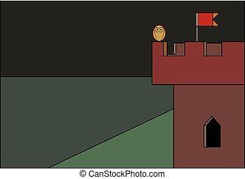 hibou, vitrail, drapeau, nuit, tour, château