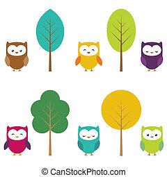 hiboux, arbres