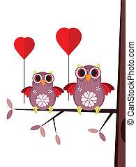 hiboux, carte, valentin