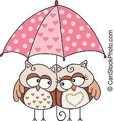 hiboux, couple, parapluie, sous