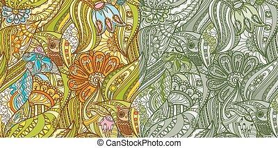 hiboux, forêt verte, motifs