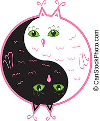 hiboux, mignon, yang yin