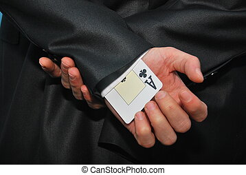one ace card hidden in the sleeve for cheating purpose