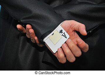 hidden ace - one ace card hidden in the sleeve for cheating...